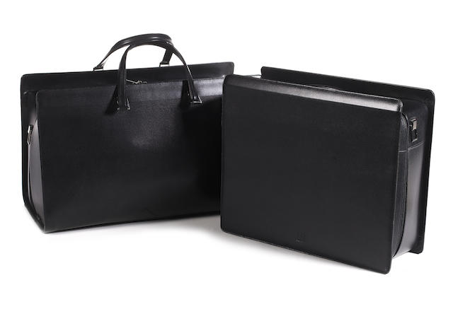 Two matching black cow hide Dunhill cases,