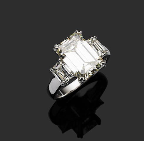 A fine emerald cut diamond ring