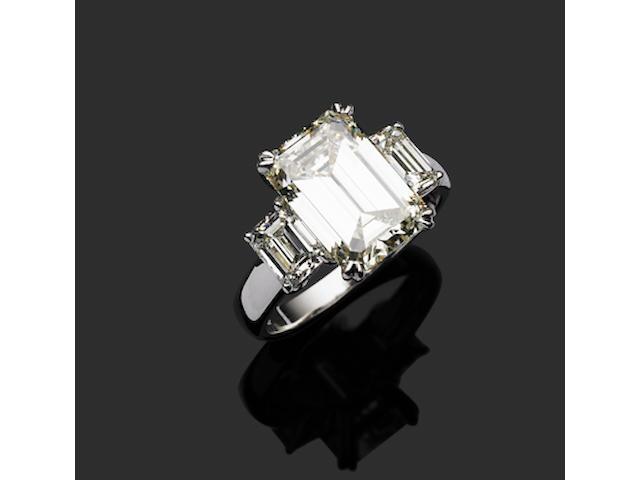 A fine emerald cut diamond ring