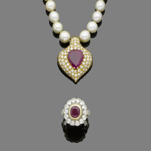 A cultured pearl necklace with a ruby and diamond pendant, a cultured pearl necklace and a ruby and diamond ring, (3) (partially illustrated)