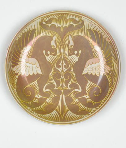 Fred Passenger for William De Morgan A Lustre Charger with Winged Beasts, circa 1880