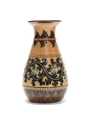 George Tinworth for Doulton Lambeth  a large Vase with Seaweed Design, circa 1895