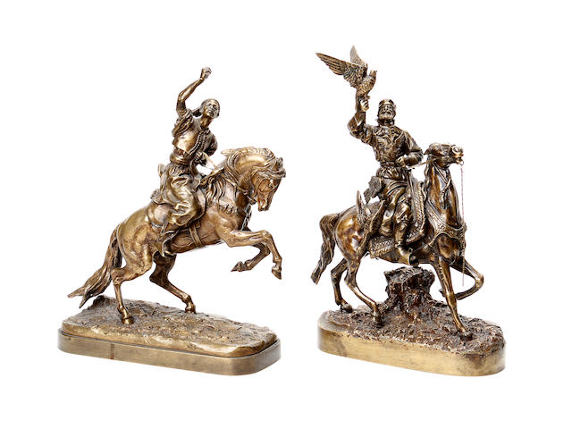 After Evgueni Alexandrovitch Lanceray, Russian (1848–1886) An early 20th century bronze of a Cossack together with another Russian bronze
