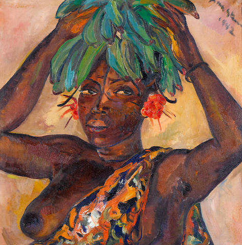 Irma Stern (South African, 1894-1966) Mangbetu woman carrying fruit