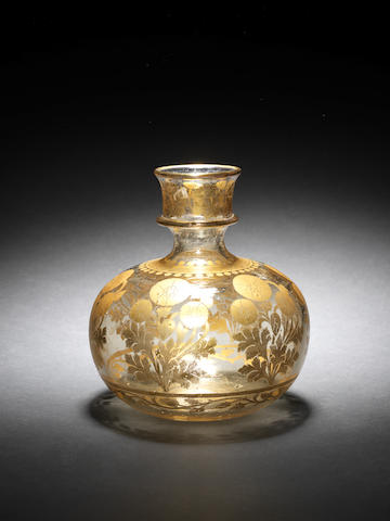 A Mughal gilt-decorated glass Huqqa Base Lucknow, 18th Century