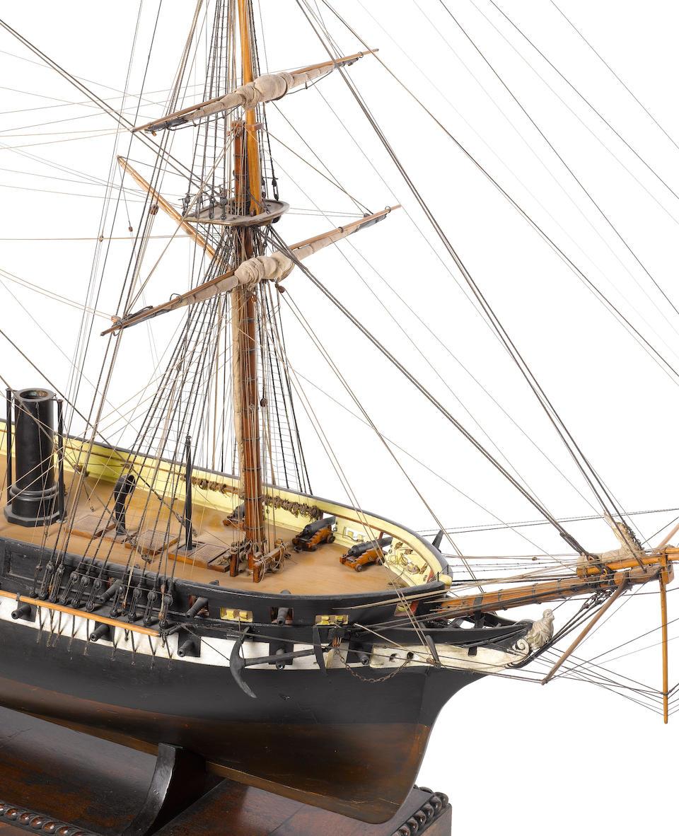 An exceptional Builder's quality 19th century concept model of HMS Arrogant 70x22x50ins. (178x56x127cm)