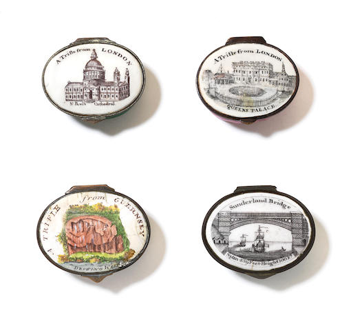 Four Trifle patch boxes, from London, from Guernsey, From London again, and Sunderland Bridge