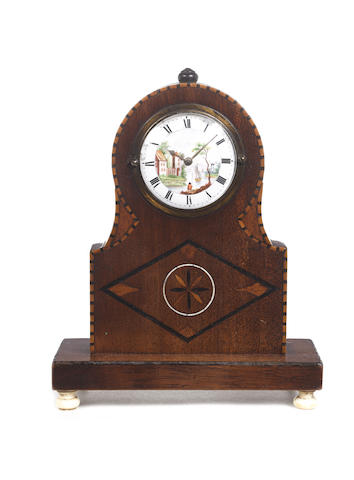 An 18th century marquetry cased clock with adapted watch movement and a silver mounted ebonised Ansonia miniature longcase clock
