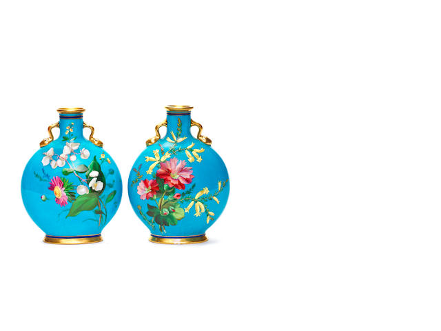 "Three Minton moon flasks 8"", two floral one otherwise"
