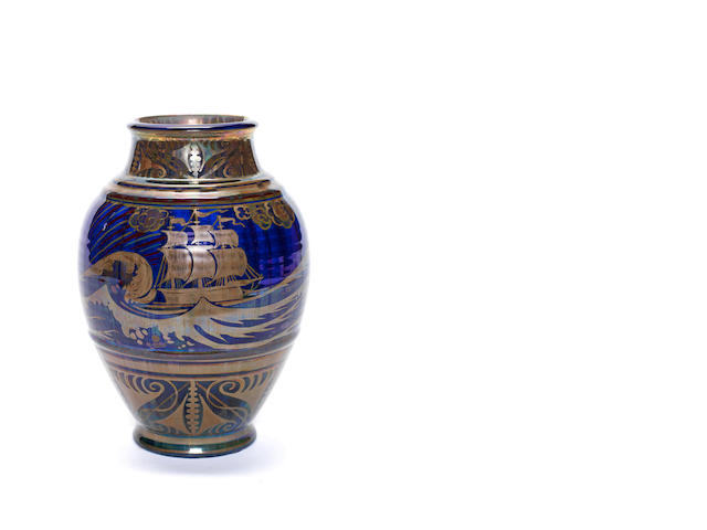 William S Mycock for Pilkington Royal Lancastrian A Vase with Galleons, 1929