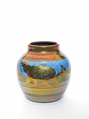 Richard Joyce for Pilkington Royal Lancastrian An Unusual Vase with Polar Bears, circa 1920