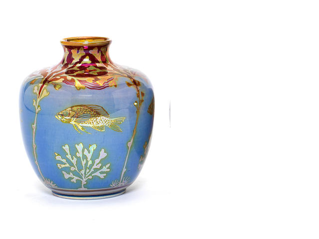 Richard Joyce for Pilkington Royal Lancastrian A Small Vase with Fish, 1908