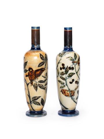Robert Wallace Martin A Pair of Vases with Bird Design, circa 1880