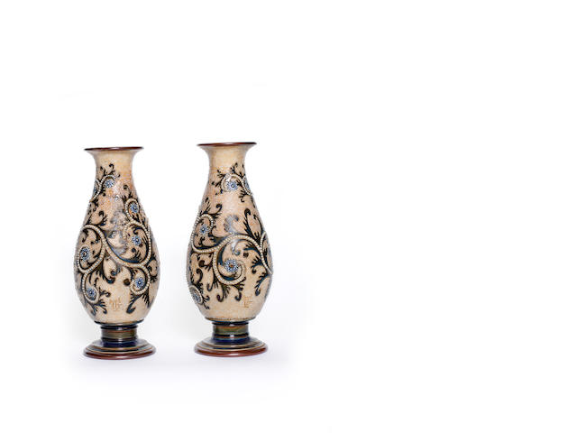 George Tinworth for Doulton Lambeth  a Pair of Seaweed Pattern Vases, 1903