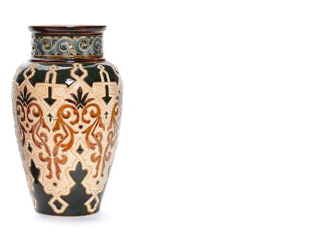 Frank Butler for Doulton Lambeth  an Iznik Inspired Vase, circa 1890