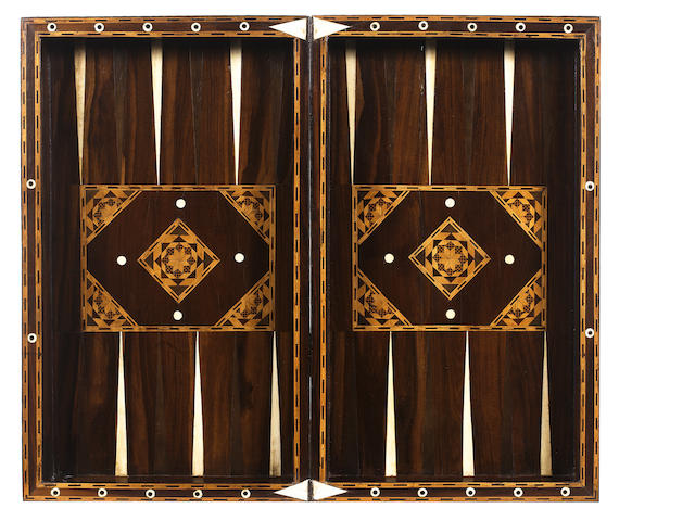 A George III mahogany, boxwood and ivory inlaid games board/box of large size, English, late 18th century,