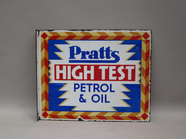 A 'Pratts High Test Petrol & Oil' enamel sign, 1930,