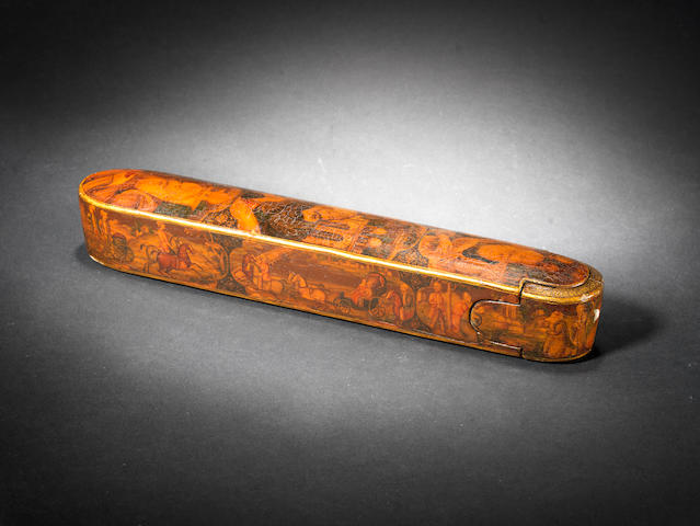 A Qajar lacquer papier mache Pen Box (qalamdan) Persia, 19th Century(2)