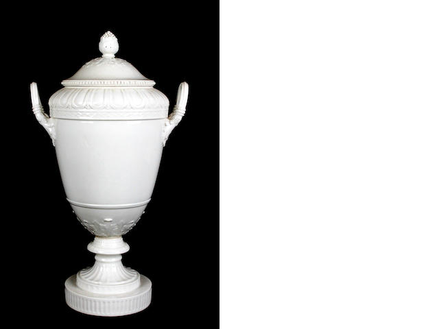 A Berlin white-glazed vase and cover