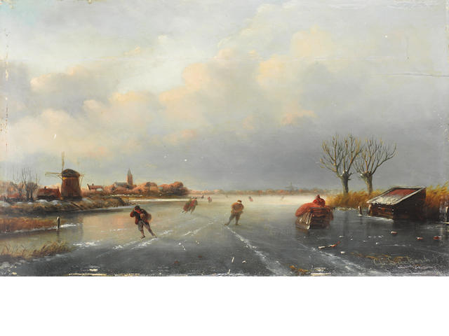 Attributed to Charles Leickert (Dutch, 1816-1907) Winter landscape with skaters 35 x 56cm (13 3/4 x 22 1/16in).
