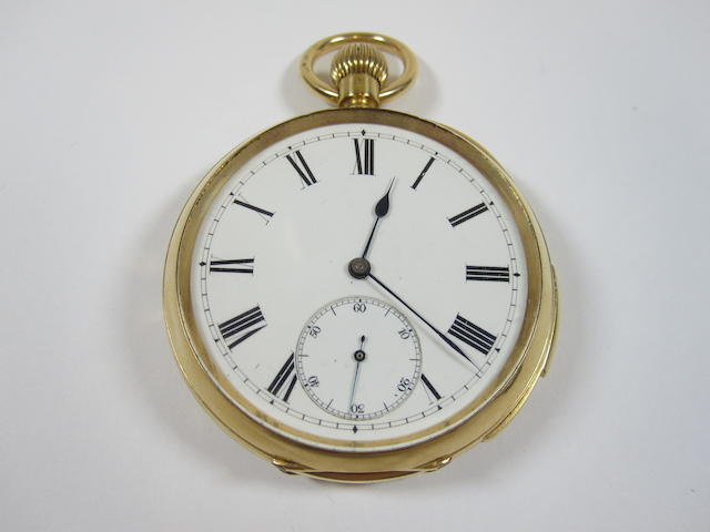 An early 20th century 18ct gold open faced quarter repeating pocket watch,