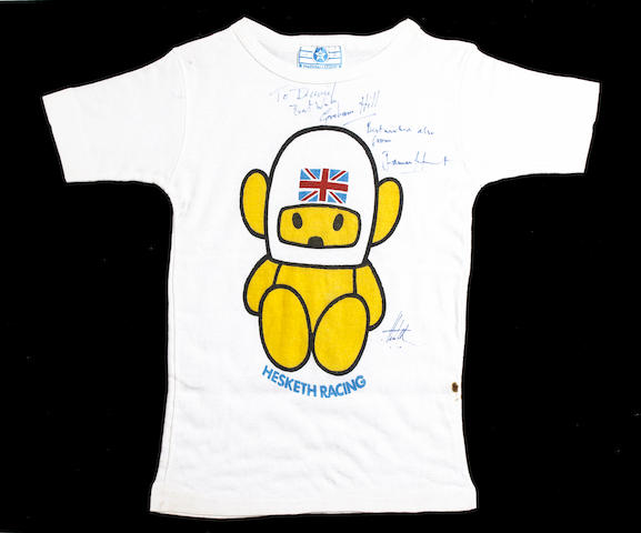 A Hesketh Racing T-Shirt signed by James Hunt and Graham Hill,