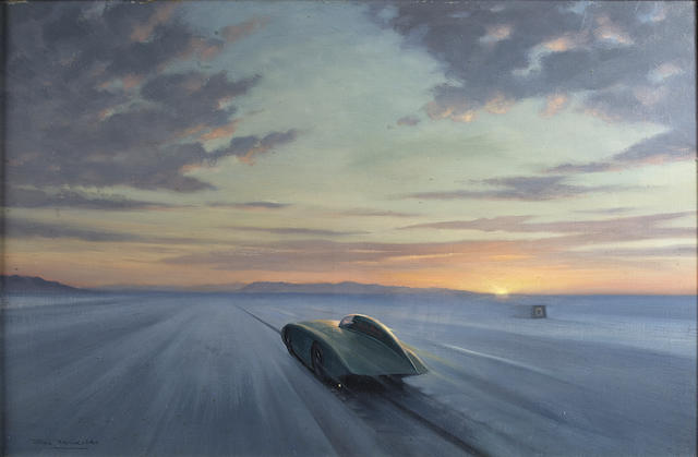 Roy Nockolds (1911-1980), 'Donald Healey Joins the Over 200mph Club at Bonneville Salt Flats, 1956',