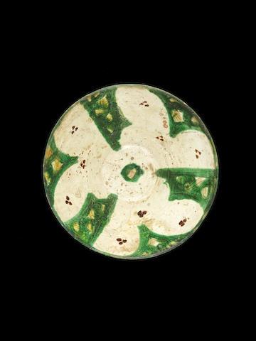 A large green splashware incised bowl, Nishapur