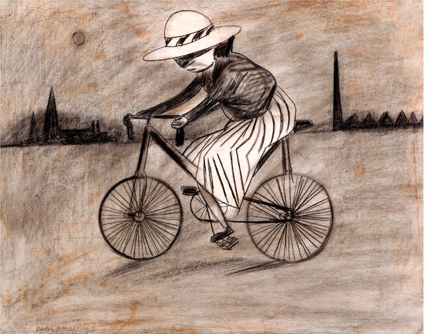 Charles Blackman (born 1928) Schoolgirl Riding her Bike 1953