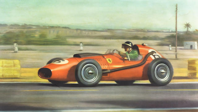 A print depicting Mike Hawthorn at the Moroccan Grand Prix in 1958,