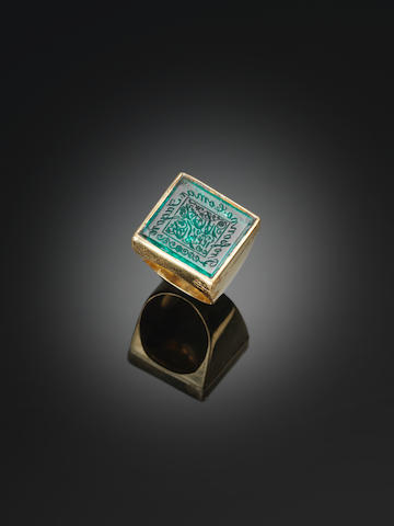 A late Mughal inscribed Emerald bearing the name of Prasanna Coomar Tagore (CSI) and dated AH 1242/ AD 1826