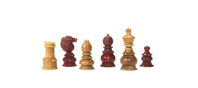 "A ""vegetable ivory"" chess set, English, circa 1850,"