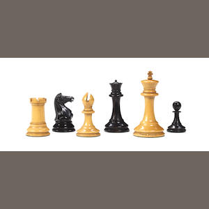 A Staunton weighted boxwood and ebony chess set, Jaques London, circa 1860,