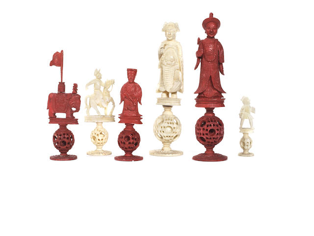 "A Chinese Export ivory ""puzzleball"" chess set, Canton, 19th century,"