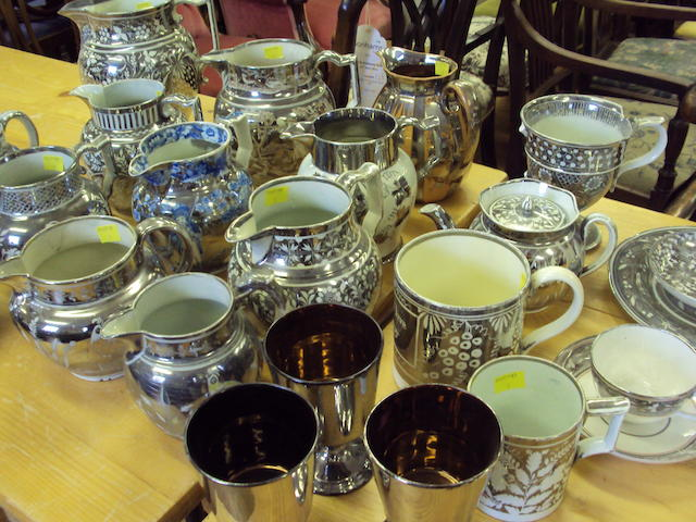 A collection of Staffordshire silver lustre wares, 19th century