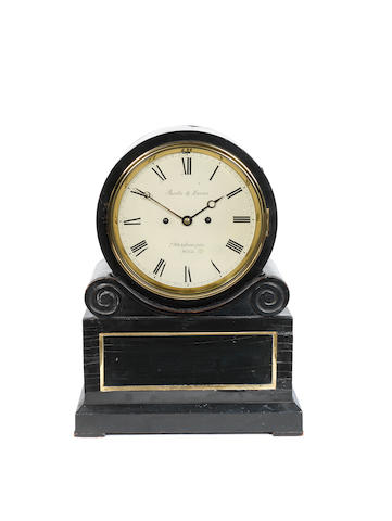 A mid 19th Century circa 1850 ebonised bracket clock  Jacobs and Lucas Whitefriargate Hull