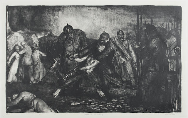George Bellows (American, 1882-1925) Made in Germany, from The Enemy arrived?? REFERENCE Mason?? Lithograph, 1918?, on wove, signed,titled and numbered no.23, with margins, 410 x 660mm (16 x 26in)(I)(unframed)