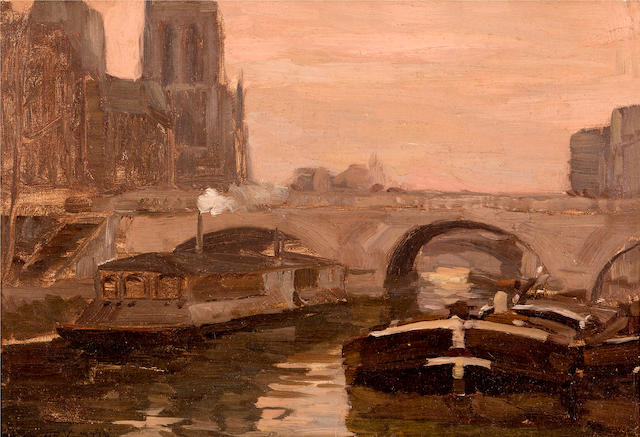 Hans Heysen (1877-1968) The Bridge over the River Seine, Paris 1901