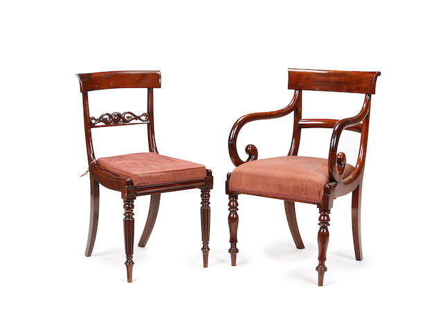A harlequin set of eight George IV rosewood dining chairs