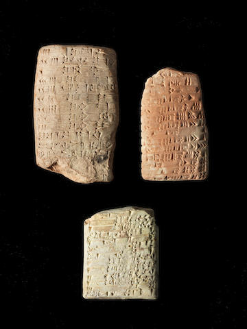Three Mesopotamian terracotta cuneiform tablets 3