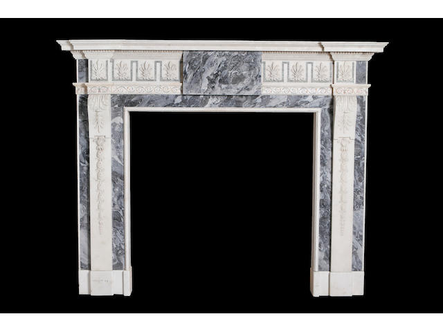 A 19th century Tiger Blue, Carrara marble and scagliola chimneypiecein the George II style