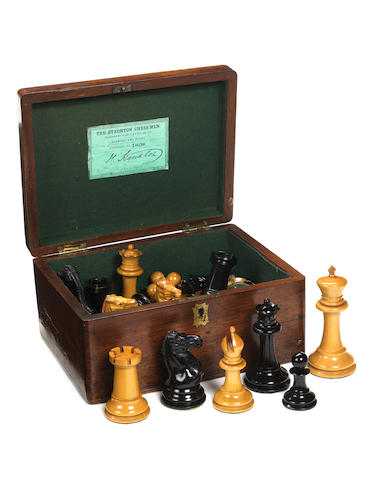 A Staunton weighted boxwood and ebony chess set, Jaques London, circa 1853-5,