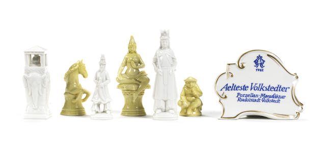 A German porcelain figural chess set, Aelteste Volkstedter factory, 20th century,