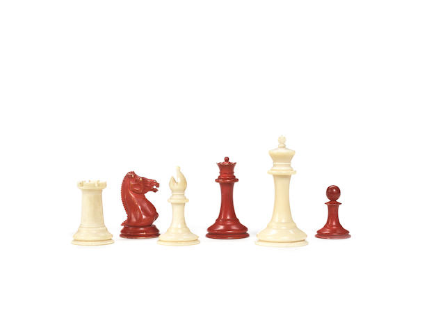 An early Staunton ivory chess set, Jaques, green lozenge registration labels for 1st March, 1849,