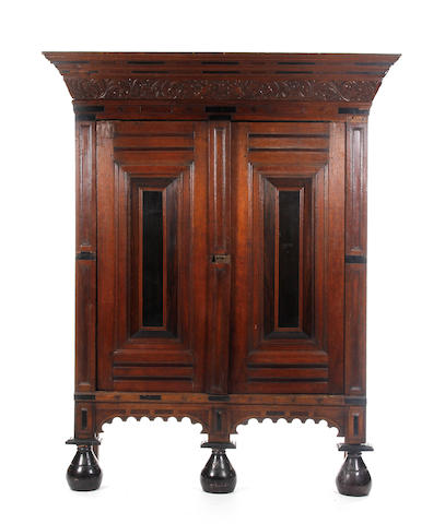 A late 17th Century oak cupboard, Dutch