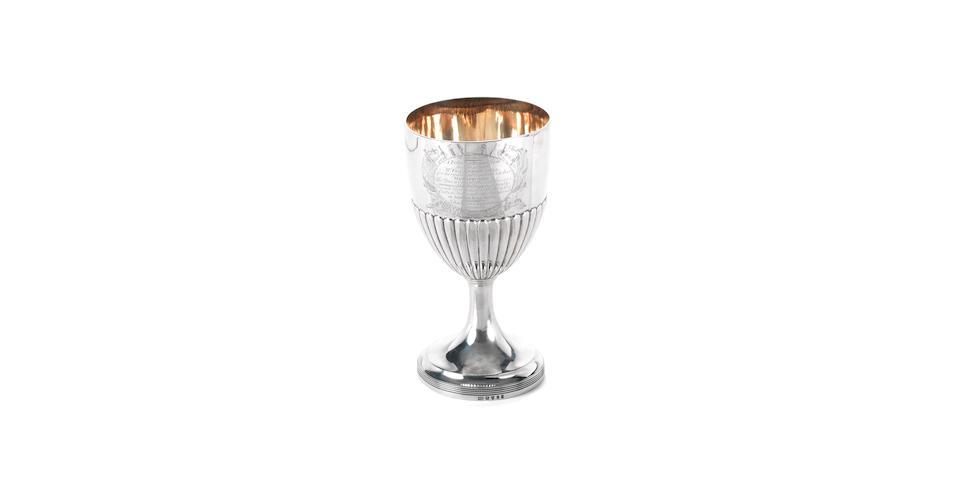 A rare Lloyds Patriotic silver presentation cup, 1794. 7.8x3.6ins. (19.5x9cm)