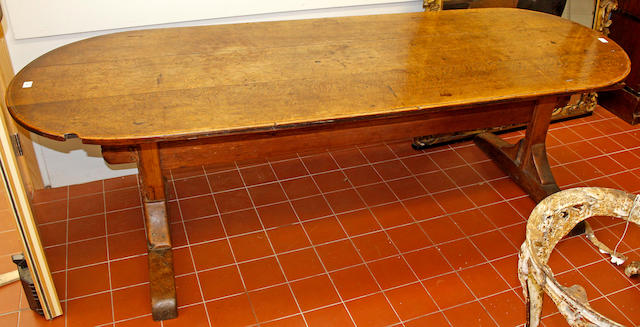 An oak Refectory type dining table, 17th Century and later