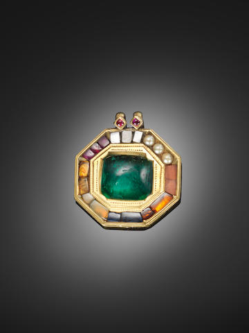 An important gem-set gold Navratna Pendant from the Treasury of Tipu Sultan, The Tiger of Mysore (1750-99), Mysore (Seringapatam), late 18th Century