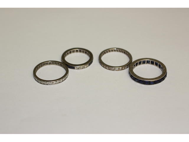 Four eternity rings,
