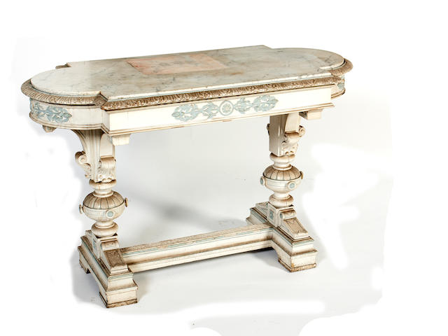 A late 19th century marble topped side tableIn the North European style of Ilatian insperation
